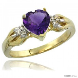 14k Yellow Gold Ladies Natural Amethyst ring Heart shape 7x7 Stone Diamond Accent