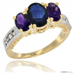 14k Yellow Gold Ladies Oval Natural Blue Sapphire 3-Stone Ring with Amethyst Sides Diamond Accent