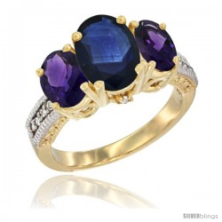 14K Yellow Gold Ladies 3-Stone Oval Natural Blue Sapphire Ring with Amethyst Sides Diamond Accent