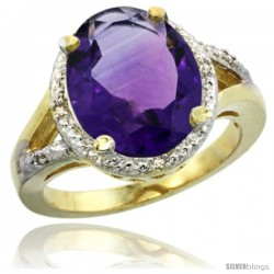 14k Yellow Gold Ladies Natural Amethyst Ring oval 12x10 Stone Diamond Accent