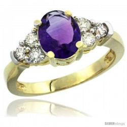 14k Yellow Gold Ladies Natural Amethyst Ring oval 9x7 Stone Diamond Accent