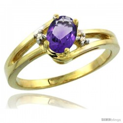 14k Yellow Gold Ladies Natural Amethyst Ring oval 6x4 Stone Diamond Accent -Style Cy401165
