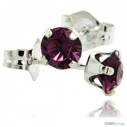 February Birthstone Amethyst-Colored 4mm (0.25 Carat Each) Swarovski Crystal Sterling Silver Stud Earrings