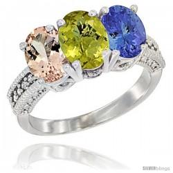 10K White Gold Natural Morganite, Lemon Quartz & Tanzanite Ring 3-Stone Oval 7x5 mm Diamond Accent