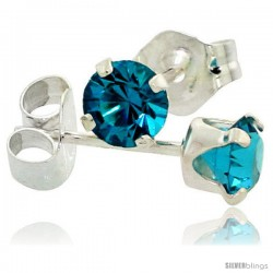 March Birthstone Aquamarine-Colored 4mm (0.25 Carat Each) Swarovski Crystal Sterling Silver Stud Earrings