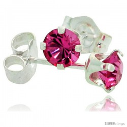 October Birthstone Pink Tourmaline-Colored 4mm (0.25 Carat Each) Swarovski Crystal Sterling Silver Stud Earrings