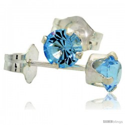 December Birthstone Blue Topaz-Colored 4mm (0.25 Carat Each) Swarovski Crystal Sterling Silver Stud Earrings
