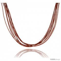 Japanese Silk Necklace 10 Strand Orange, Sterling Silver Clasp, 18 in