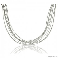 Japanese Silk Necklace 10 Strand Silver, Sterling Silver Clasp, 18 in