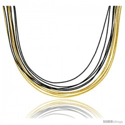 Japanese Silk Necklace 10 Strand Black & Yellow, Sterling Silver Clasp, 18 in