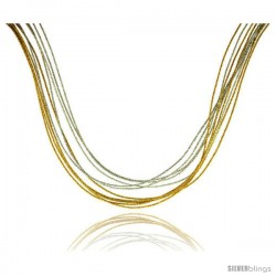 Japanese Silk Necklace 10 Strand Yellow & Silver, Sterling Silver Clasp, 18 in