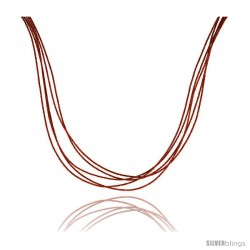 Japanese Silk Necklace 5 Strand Orange, Sterling Silver Clasp, 18 in