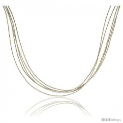 Japanese Silk Necklace 5 Strand Silver, Sterling Silver Clasp, 18 in