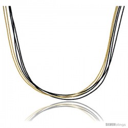 Japanese Silk Necklace 5 Strand Yellow and Black, Sterling Silver Clasp, 18 in