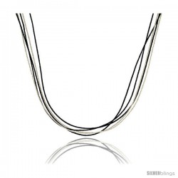 Japanese Silk Necklace 5 Strand Black & Silver, Sterling Silver Clasp, 18 in