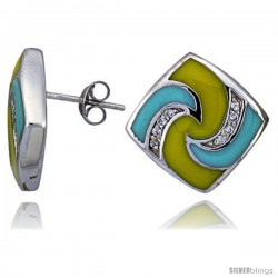 "Sterling Silver 3/4"" (19 mm) tall Post Earrings, Rhodium Plated w/ CZ Stones, Yellow & Blue Enamel Designs"
