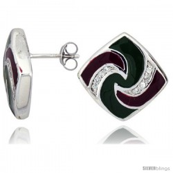 "Sterling Silver 3/4"" (19 mm) tall Post Earrings, Rhodium Plated w/ CZ Stones, Green & Red Enamel Designs"