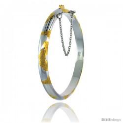 Sterling Silver Children's Bangle Bracelet 2 Tone Hand Engraved Floral Pattern 3/16 in wide