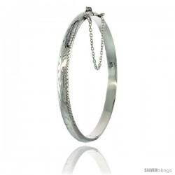Sterling Silver Children's Bangle Bracelet Junior Size Hand Engraved Floral Pattern 3/16 in wide