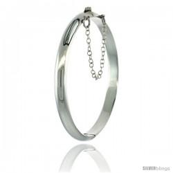 Sterling Silver Children's Bangle Bracelet Junior Size High Polished 3/16 in wide