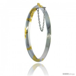Sterling Silver Children's Bangle Bracelet Junior Size 2 Tone Hand Engraved Floral Pattern 3/16 in wide