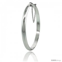 Sterling Silver Children's Bangle Bracelet Junior Size High Polished 3/16 in wide -Style 2bb30