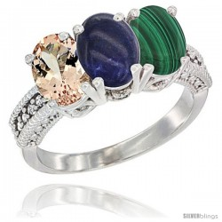 10K White Gold Natural Morganite, Lapis & Malachite Ring 3-Stone Oval 7x5 mm Diamond Accent