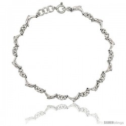Sterling Silver Dolphin Charm Bracelet, 1/4 in wide -Style 2cb44