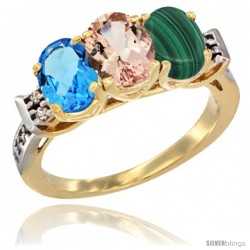 10K Yellow Gold Natural Swiss Blue Topaz, Morganite & Malachite Ring 3-Stone Oval 7x5 mm Diamond Accent