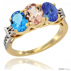 10K Yellow Gold Natural Swiss Blue Topaz, Morganite & Tanzanite Ring 3-Stone Oval 7x5 mm Diamond Accent