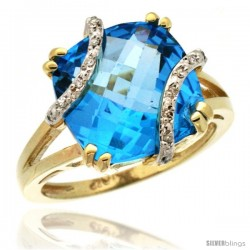 10k Yellow Gold Diamond Swiss Blue Topaz Ring 7.5 ct Cushion Cut 12 mm Stone, 1/2 in wide