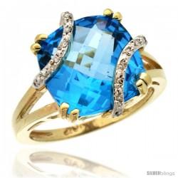 10k Yellow Gold Diamond Swiss Blue Topaz Ring 7.5 ct Cushion Cut 12 mm Stone, 1/2 in wide