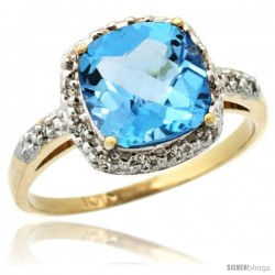 10k Yellow Gold Diamond Swiss Blue Topaz Ring 2.08 ct Cushion cut 8 mm Stone 1/2 in wide