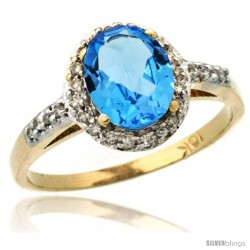 10k Yellow Gold Diamond Swiss Blue Topaz Ring Oval Stone 8x6 mm 1.17 ct 3/8 in wide