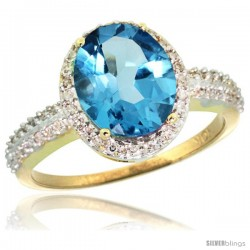 10k Yellow Gold Diamond Swiss Blue Topaz Ring Oval Stone 10x8 mm 2.4 ct 1/2 in wide