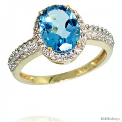 10k Yellow Gold Diamond Swiss Blue Topaz Ring Oval Stone 9x7 mm 1.76 ct 1/2 in wide