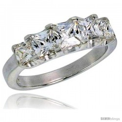 Sterling Silver 1/2 Carat Size Princess Cut Cubic Zirconia Bridal Ring
