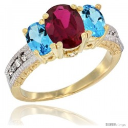 10K Yellow Gold Ladies Oval Natural Ruby 3-Stone Ring with Swiss Blue Topaz Sides Diamond Accent
