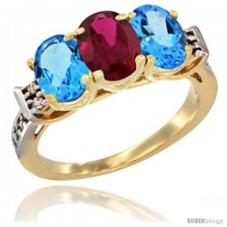 10K Yellow Gold Natural Ruby & Swiss Blue Topaz Sides Ring 3-Stone Oval 7x5 mm Diamond Accent