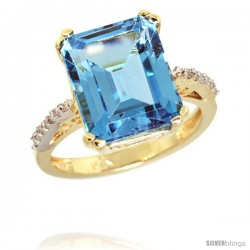 10k Yellow Gold Diamond Swiss Blue Topaz Ring 5.83 ct Emerald Shape 12x10 Stone 1/2 in wide