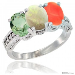 14K White Gold Natural Green Amethyst, Opal & Coral Ring 3-Stone 7x5 mm Oval Diamond Accent
