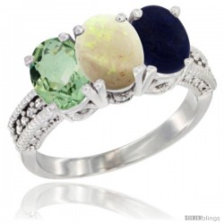 14K White Gold Natural Green Amethyst, Opal & Lapis Ring 3-Stone 7x5 mm Oval Diamond Accent