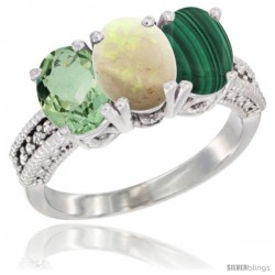 14K White Gold Natural Green Amethyst, Opal & Malachite Ring 3-Stone 7x5 mm Oval Diamond Accent