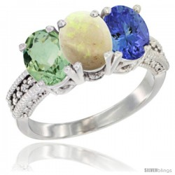 14K White Gold Natural Green Amethyst, Opal & Tanzanite Ring 3-Stone 7x5 mm Oval Diamond Accent