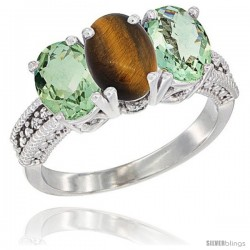 14K White Gold Natural Tiger Eye & Green Amethyst Sides Ring 3-Stone 7x5 mm Oval Diamond Accent