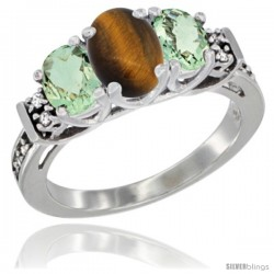 14K White Gold Natural Tiger Eye & Green Amethyst Ring 3-Stone Oval with Diamond Accent