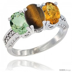 14K White Gold Natural Green Amethyst, Tiger Eye & Whisky Quartz Ring 3-Stone 7x5 mm Oval Diamond Accent