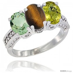 14K White Gold Natural Green Amethyst, Tiger Eye & Lemon Quartz Ring 3-Stone 7x5 mm Oval Diamond Accent