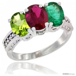 14K White Gold Natural Peridot, Ruby & Emerald Ring 3-Stone Oval 7x5 mm Diamond Accent