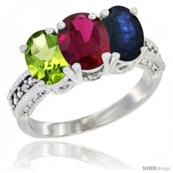 14K White Gold Natural Peridot, Ruby & Blue Sapphire Ring 3-Stone Oval 7x5 mm Diamond Accent